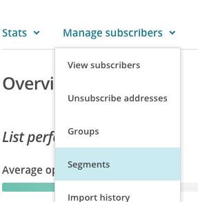 Manage subscribers view segments
