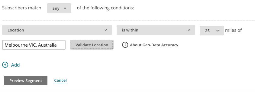location based segmenting conditions
