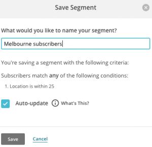 location based segment save